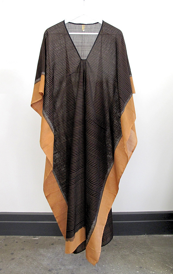 Two New York caramel stripe ikat caftan