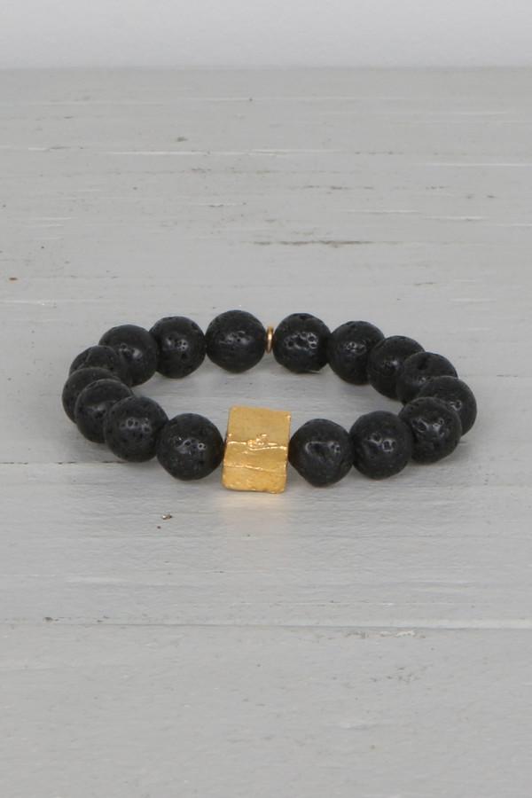 Mickey Lynn ML7460B Black Lava Bead Bracelet