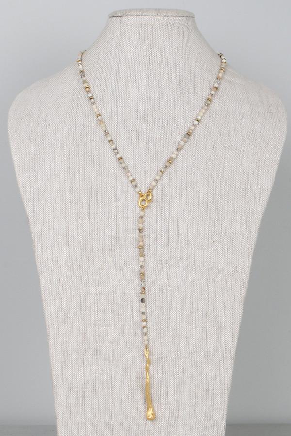 Mickey Lynn ML8406 White African Opal Brass Accent