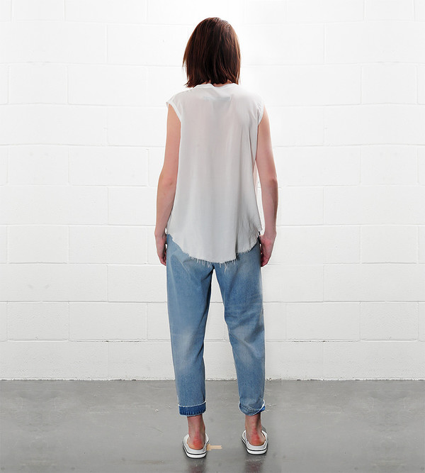 Raquel Allegra Shirred Sleeveless Henley