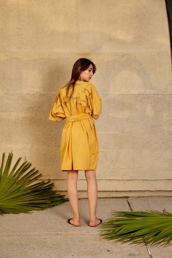 Tantuvi Pleated Column Dress- Sunray