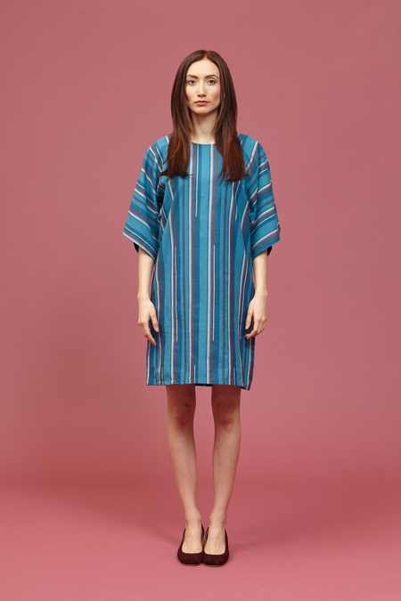 Tantuvi Kimono Dress (Striped Emerald)