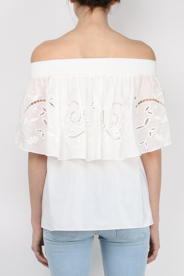 Tibi Carmen Embroidered Off Shoulder Top