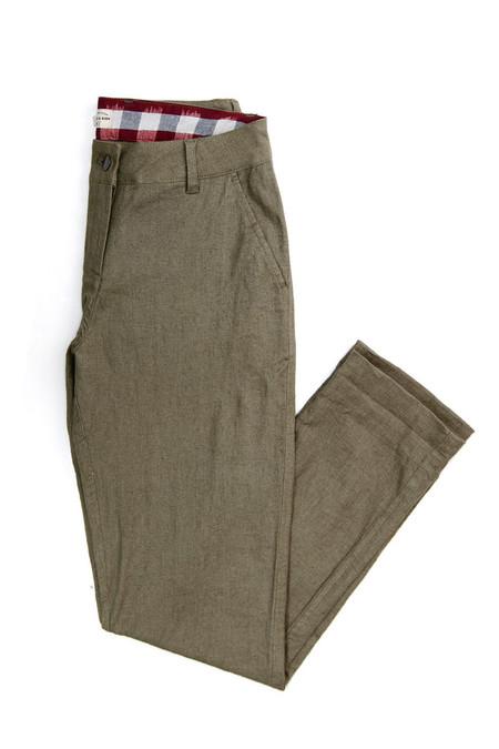 Bridge & Burn Market Trouser Olive Linen