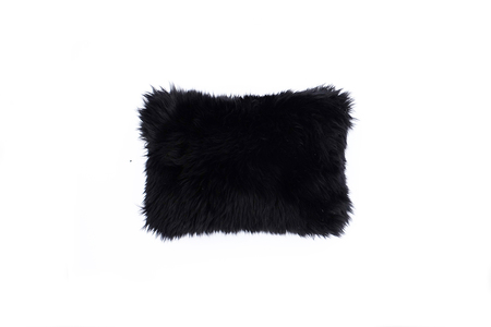 "Primecut Black Sheepskin Pillow (16"" x 10"")"