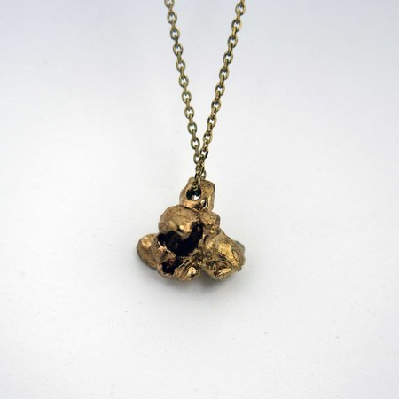 Gold Teeth Brooklyn Popcorn Necklace in Brass