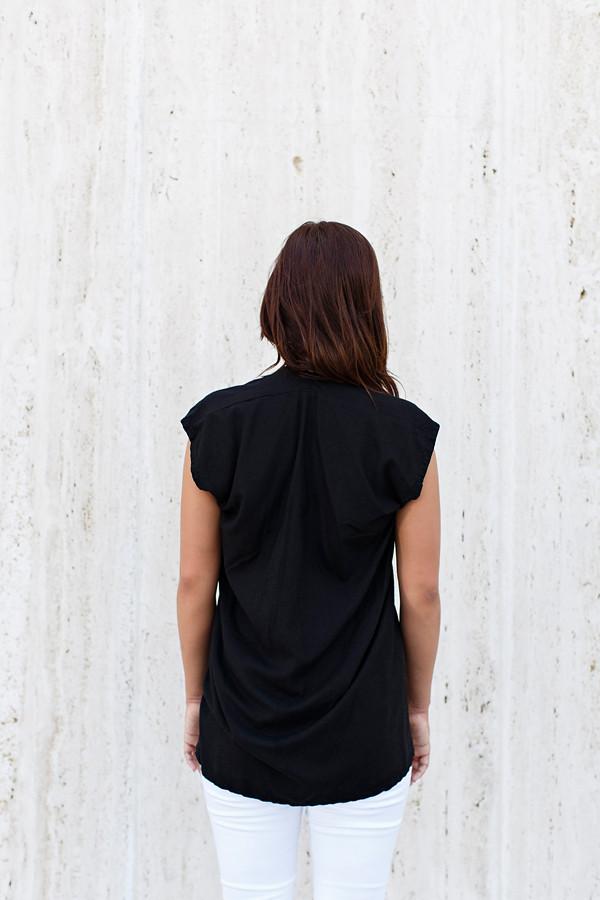 Miranda Bennett Everyday Top, Silk Noil in Black