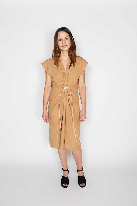 Miranda Bennett Tempest Dress, Silk Noil in Camel