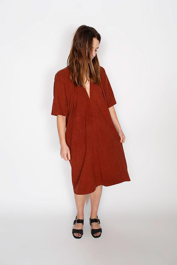 Miranda Bennett Rust Muse Dress, Silk