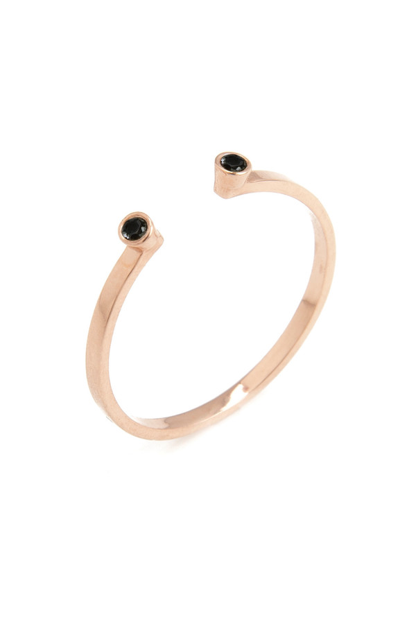 14k Rose Gold Band and Double Black Diamond Ring
