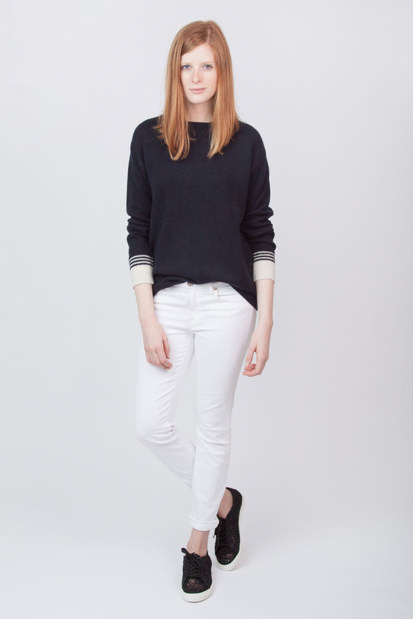 Chinti and Parker Cashmere Cuff Stripe Sweater