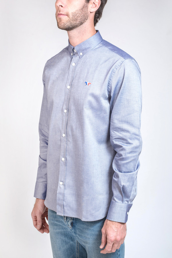 Men's Maison Kitsune Classic Oxford Button Down with Tricolor Patch