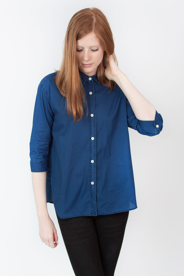 Steven Alan Cross Over Shirt Indigo Chambray