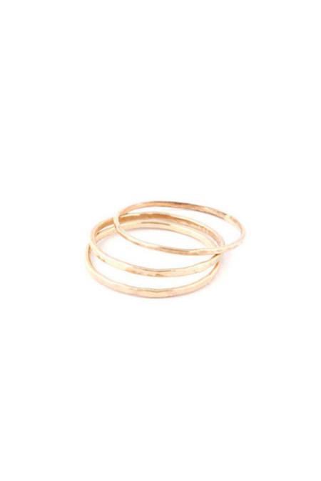 In God We Trust Hammered 1mm 14K Gold Ring
