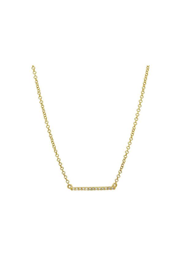 Sachi Jewelry Mini Micro Bar Necklace - 14K Yellow Gold