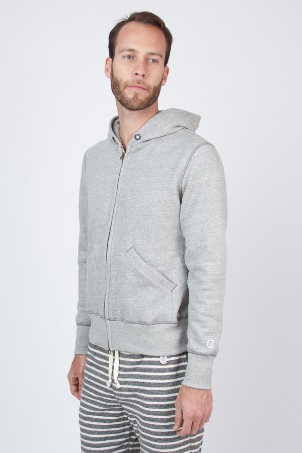 Men's Todd Snyder Champion Vintage Full Zip Hoodie in Grey Heather
