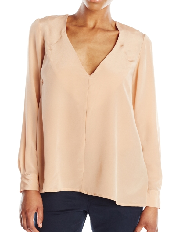 Vincetta Clay Silk Vneck Blouse