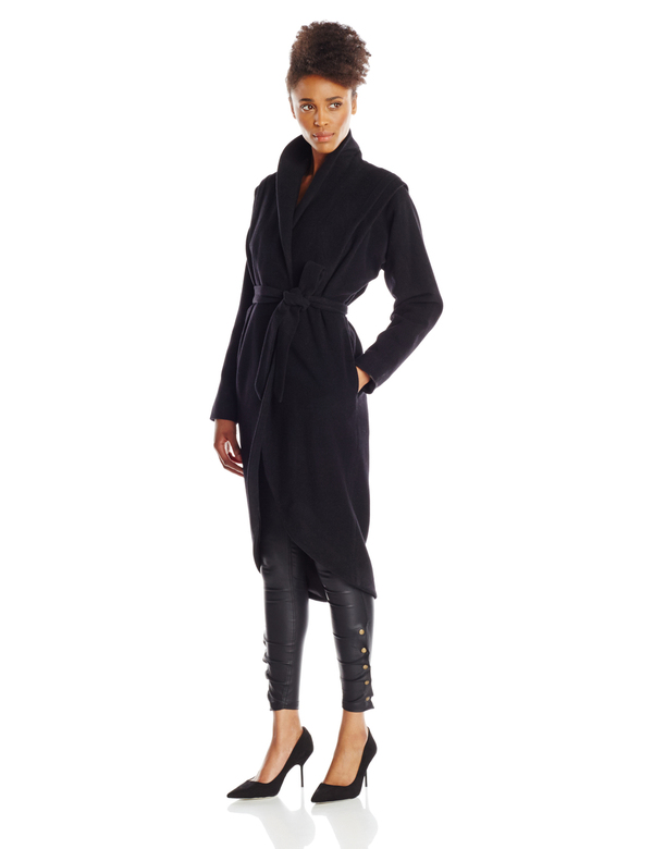 Vincetta Black Shawl Collar Coat