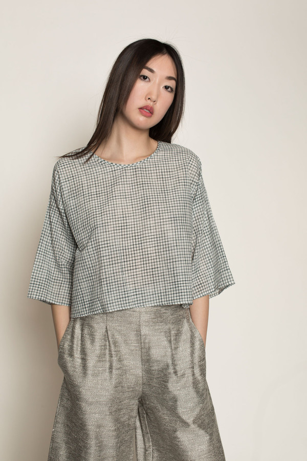 H. Fredriksson Crop Alex Top in Small Grid Khadi