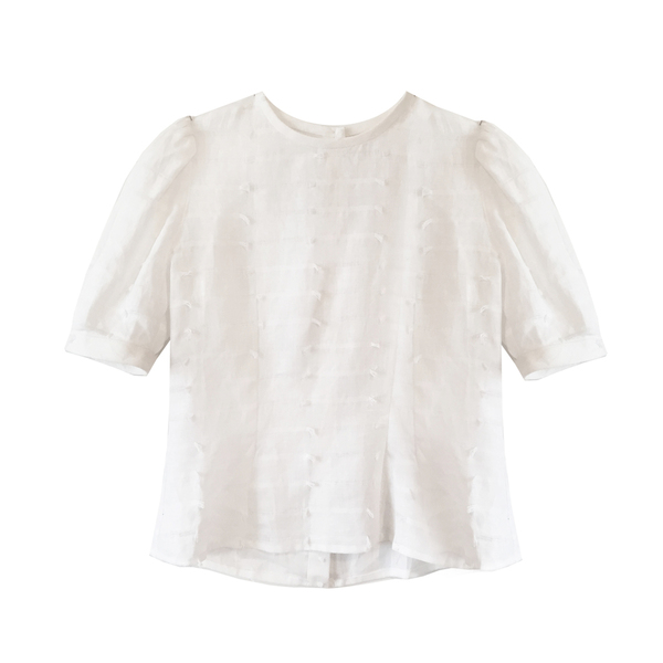 Nikki Chasin Delilah Puff Sleeve Top - Linen Eyelash