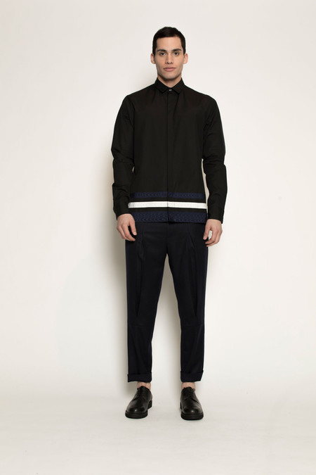 Men's Kenneth Ning Grosgrain Shirt in Black