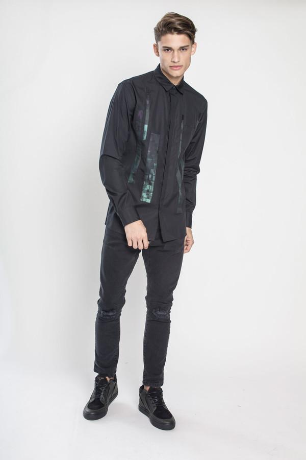 Men's Kenneth Ning Jacquard Applique Shirt in Black