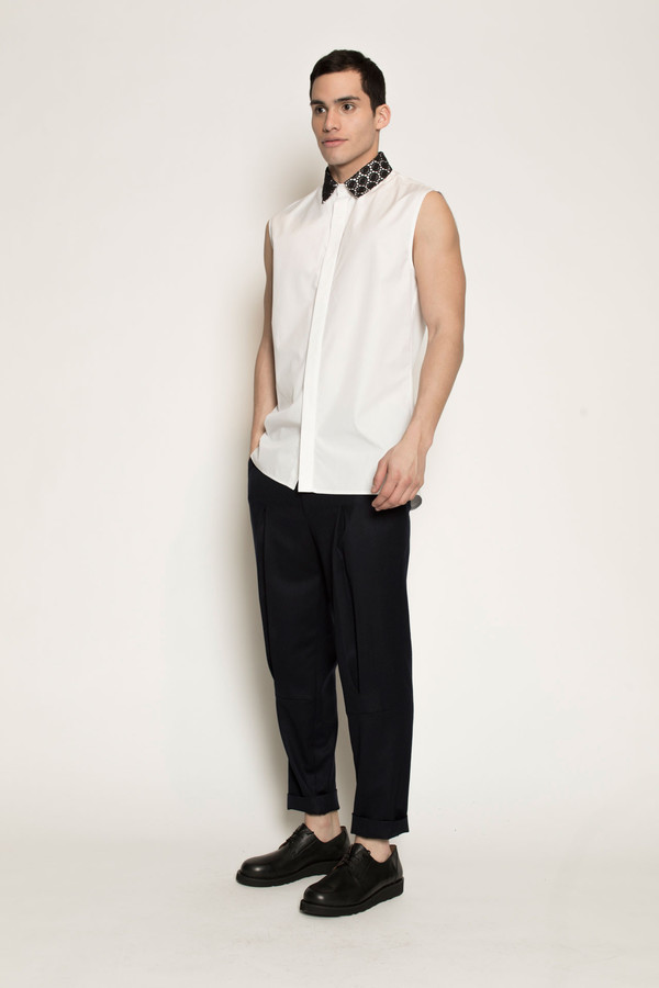 Men's Kenneth Ning Lace Collar Sleeveless Shirt in White