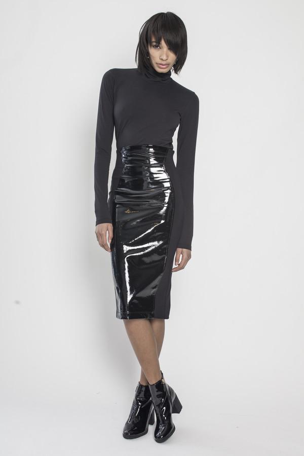 CHROMAT Lacquer Patent Skirt in Black