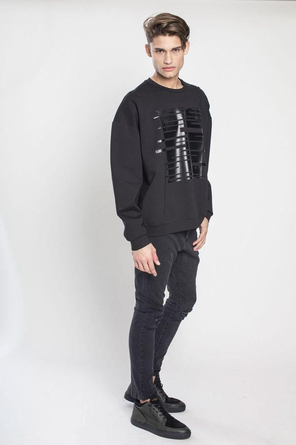 Men's Kenneth Ning Oversized Plastisol Print Sweatshirt in Black
