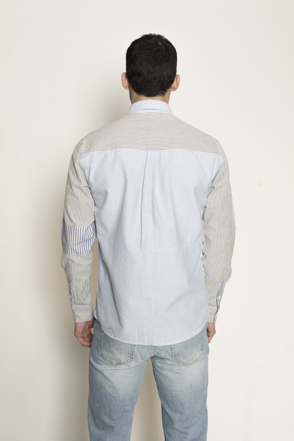 Men's Soulland Stitch Button Down Patchwork Shirt in Blue/White