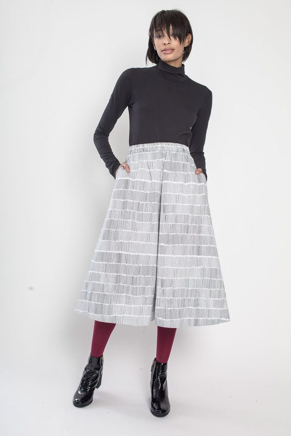 Kowtow Studio Skirt in Black Dashes on White
