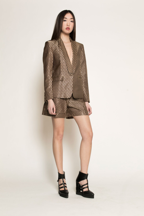 Dzojchen Tux Lapel Tailored Blazer in Gold Diamond Brocade