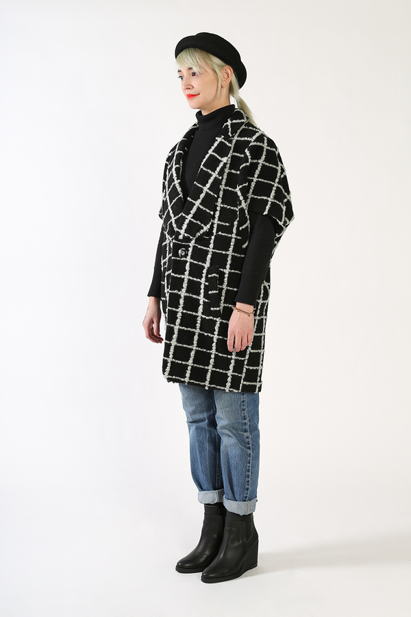 Kurt Lyle JASPER Single Button Dolman Fold Jacket - GRID