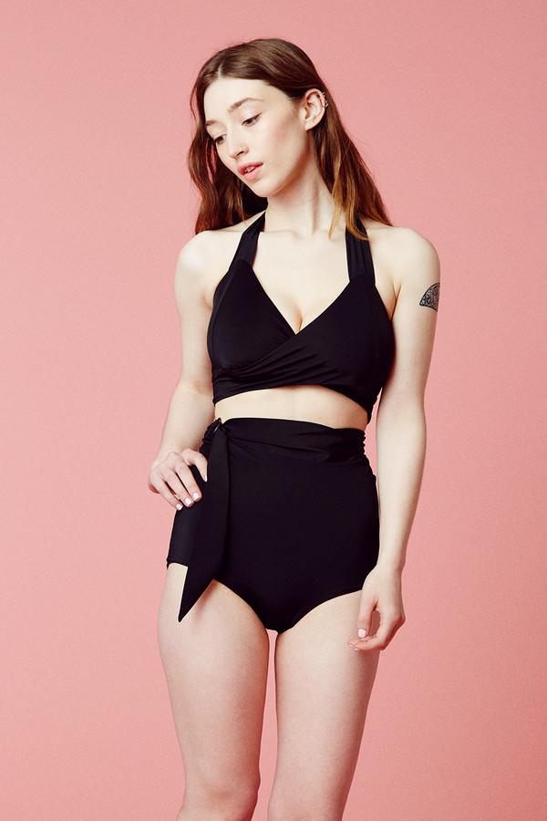 Samantha Pleet Whirl Bikini Top - Black