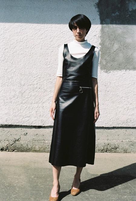 Markoo A-Line Zip Dress - black leather