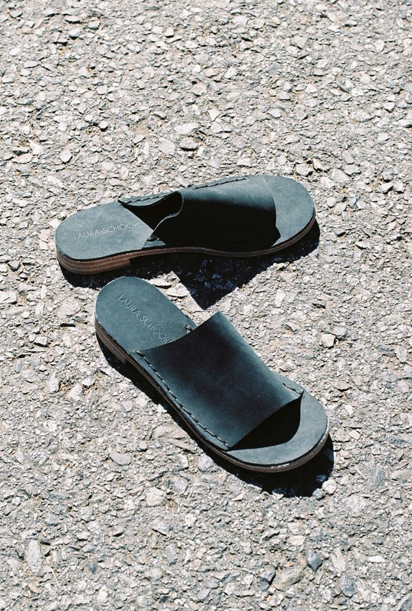 Laura Schoorl Heel Slides - black nubuck