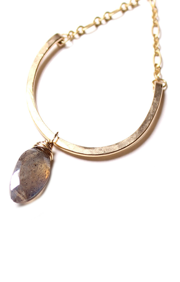 Sarah Dunn Gold Hoops with Labradorite Drops