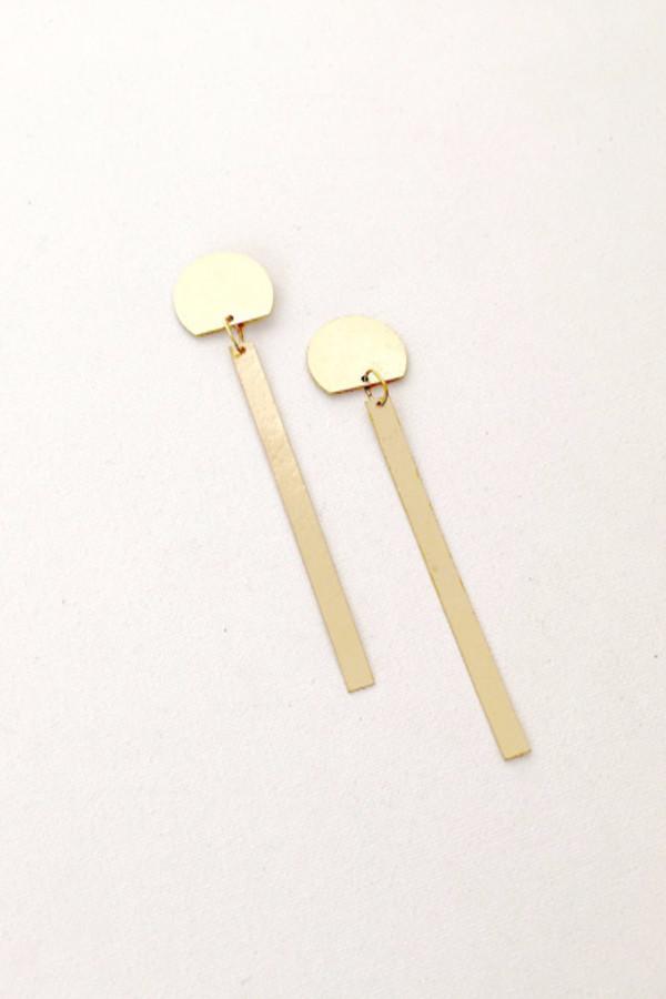 modern weaving slim semi circle earrings