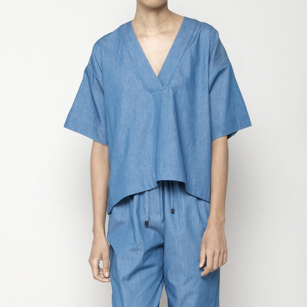 7115 by Szeki Kaftan Top- Indigo SS16