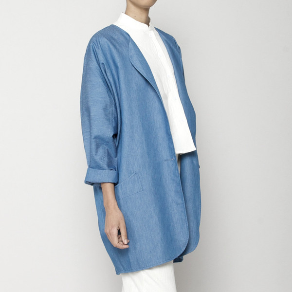 7115 by Szeki Spring Duster Coat- Indigo SS16