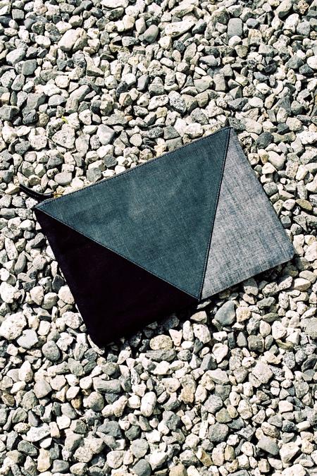 Clare V Flat Clutch - patchwork denim