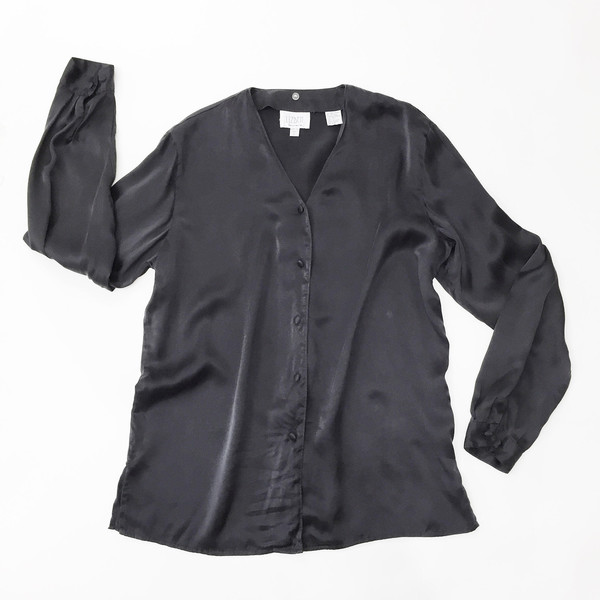 Johan Vintage Black Silk Shirt