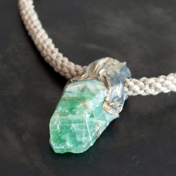 Adina Mills Green Calcite Pendant Necklace
