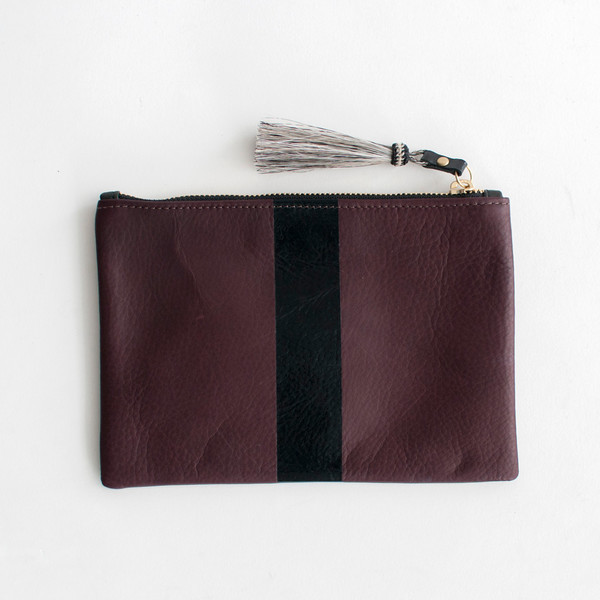 Kempton & Co Stripe Pouch Oxblood/Black - SOLD OUT