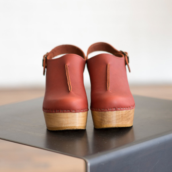 No. 6 Closed Toe Front Seam Clog Cognac - SOLD OUT