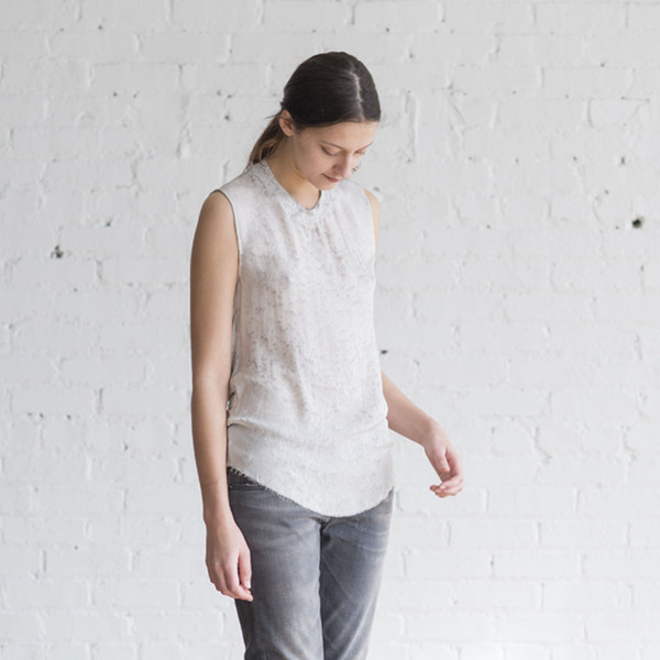 Raquel Allegra Silk and Jersey Rainwash Muscle Tee