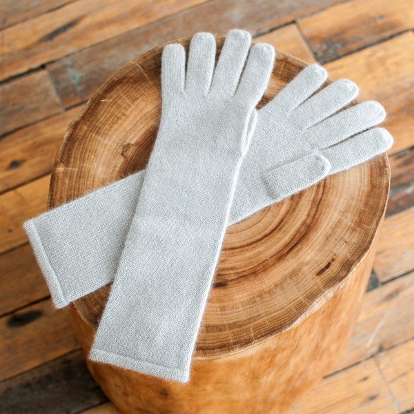 Ryan Roche Long Gloves Pale Grey Cashmere - SOLD OUT