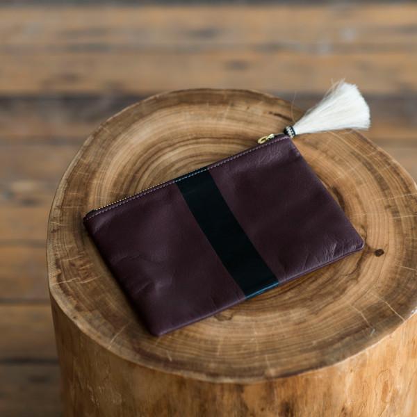 Kempton & Co Small Stripe Tassel Pouch Oxblood