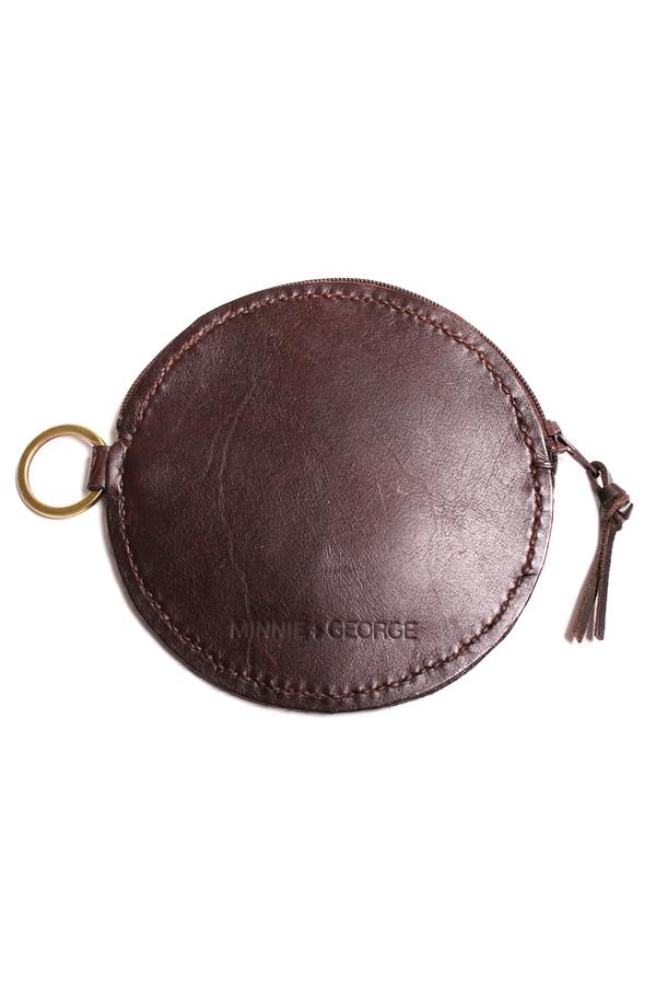 Minnie + George Circle Coin Purse in Dark Brown Calf Hair