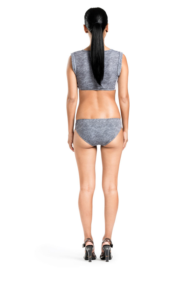 BETH RICHARDS Elle Top - Grey Heather MUSCLE CROP TOP WITH MESH SIDES